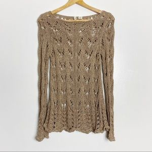 Anthropologie Moth Looped Crochet Shimmer Sweater